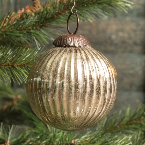 Ragon House Ribbed Silver Kugel Ornament 3 Inch Ss13979