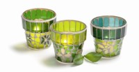 tag Flowerpot  Mosaic Glass Tealights