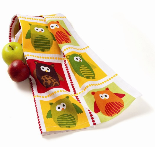 tag Owl Grid Dishtowel