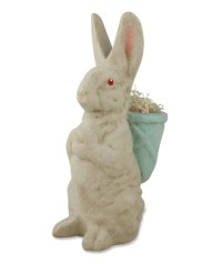 Bethany Lowe Vintage Rabbit With Aqua Basket