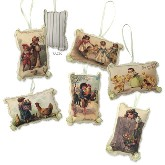 Bethany Lowe Children & Chicks Fabric Ornaments