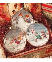 Bethany Lowe Snowman Glass Disc Ornaments