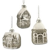 Bethany Lowe Mini Mercury Glass House Ornaments