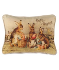 Bethany Lowe Bunnies With Egg Pillow