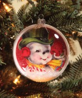 Bethany Lowe Retro Snowman Disc Ornament