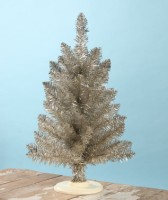 Bethany Lowe Tabletop Platinum Tinsel Tree