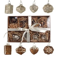 Bethany Lowe Elegant Bronze and Pearl Small Ornament Set