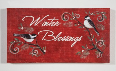 Creative Co-op Winter Blessings Canvas