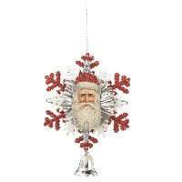 CBK Snowflake Santa with Bell Dangle Ornament