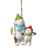 CBK Snowman & Snowkid Fishing Ornament