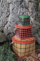 Creative Co-op Plaid Tin Buckets