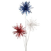 RAZ Patriotic Glittered Pom Pom Spray