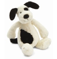 Jellycat Bashful Black & Cream Puppy Rattle