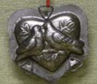 KD Vintage Heart & Doves Mold/Ornament