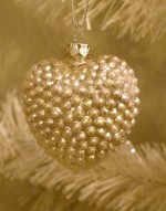 KD Vintage Silver Glass Nubby Heart Ornament