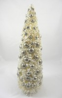 KD Vintage Ivory Bottle Brush Tree With Silver Balls