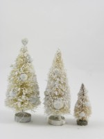 KD Vintage Ivory Frosted Mini Tree Set