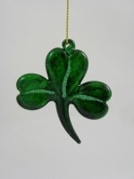KD Vintage Small Glass Shamrock Ornament