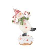 K&K Dancing Snowman On Cupcake