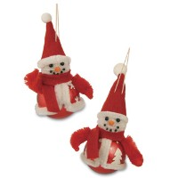Bethany Lowe Chenille Red Snowman Ornament