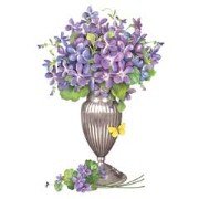 Mary Lake-Thompson Violets In Silver Vase Towel
