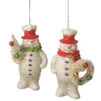 Midwest Red Top Hat Snowman Ornament