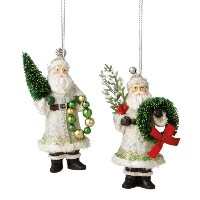 Midwest Wintergreen Santa Ornaments
