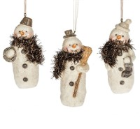 Midwest Snowman Ornaments With Copper Scarves