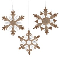Midwest Snowflake Ornaments With Copper Glitter