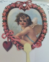 Cupid With Heart Of Roses Handle Fan