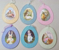 Embossed Tin Easter Egg Ornaments