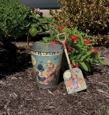 Vintage Image Garden Pail & Shovel