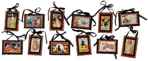 Glittered Halloween Vintage Image Postcard Ornaments