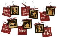 Snowman Christmas Word Ornament Set