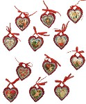 Vintage Image Glittered Heart Ornaments