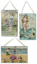 Postcard Vintage Beach Scene Plaque
