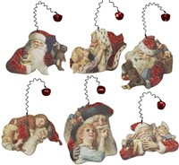 Vintage Santa Image Ornament Set