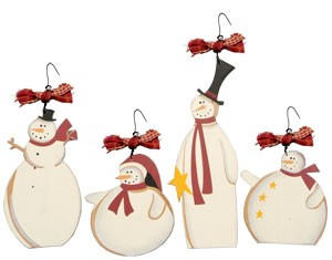 Wooden Snowmen Ornament Set
