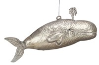 Large Whale Glass Ornament