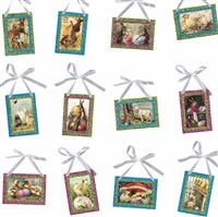 Easter Pinked Vintage Image Ornaments