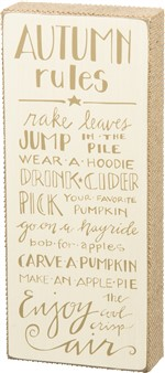 Autumn Rules Box Sign