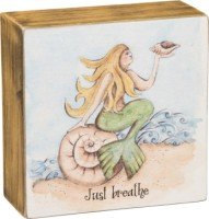 Just Breathe Mermaid Box Sign