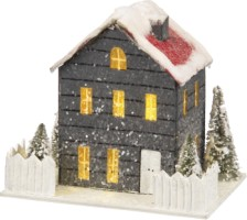 Lighted Paper House Sage Red Roof Small