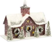 Lighted Paper Barn Small Red