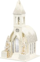 Lighted Paper White Church Small