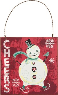 Cheers Snowman Plaque