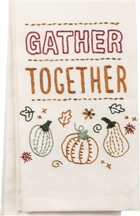 Gather Together Embroidered Towel