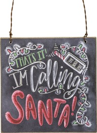 Calling Santa Chalk Ornament