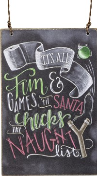 Naughty List Chalk Ornament