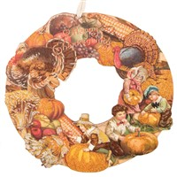 Vintage Happy Thanksgiving Turkey Wreath